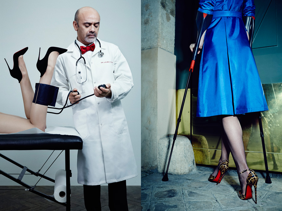 Left: Christian Louboutin is wearing a white shirt and red bow tie by Charvet.