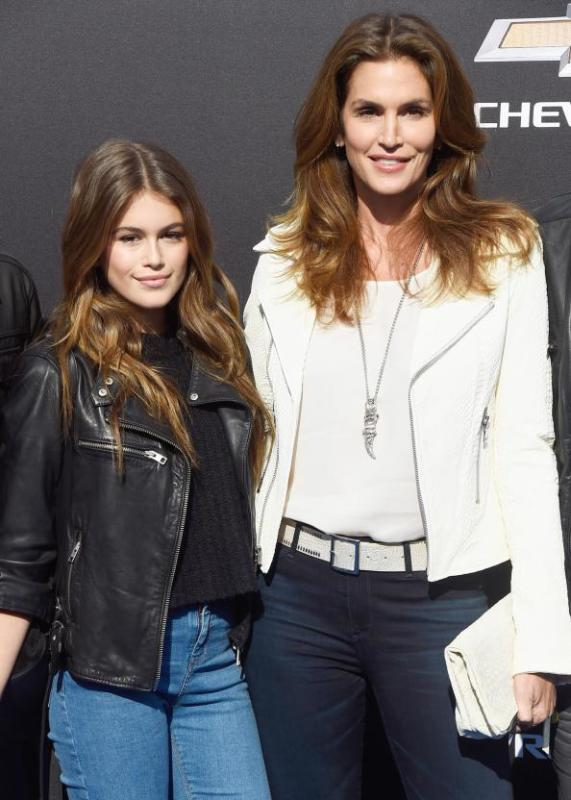 Kaia Gerber and her supermodel mum, Cindy Crawford at Disney's Premiere of Tomorrowland. Photo Credit: Getty Images