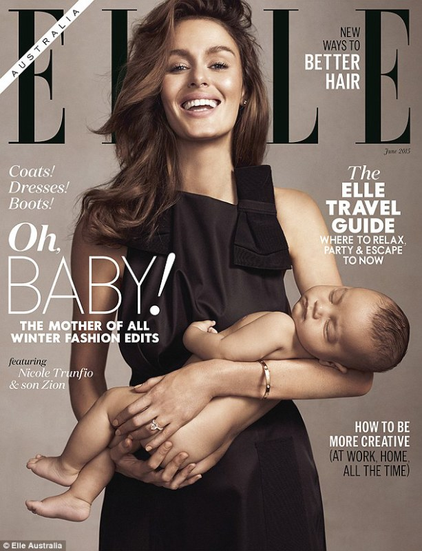 """The more """"conservative"""" front cover photo from Nicole Trunfio's Elle shoot that replaced the breastfeeding cover on the news stands. Photo Credit: Elle Australia"""