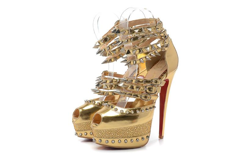 Christian Louboutin gold spiked heels