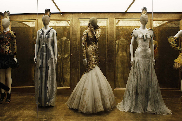 Creations by the late British designer Alexander McQueen are displayed during a preview at the Metropolitan Museum of Art in New York, May 2, 2011. An exhibition of McQueen's creations titled Savage Beauty will be on display at the museum from May 4-July 31, 2011. REUTERS/Finbarr O'Reilly (UNITED STATES - Tags: FASHION SOCIETY)