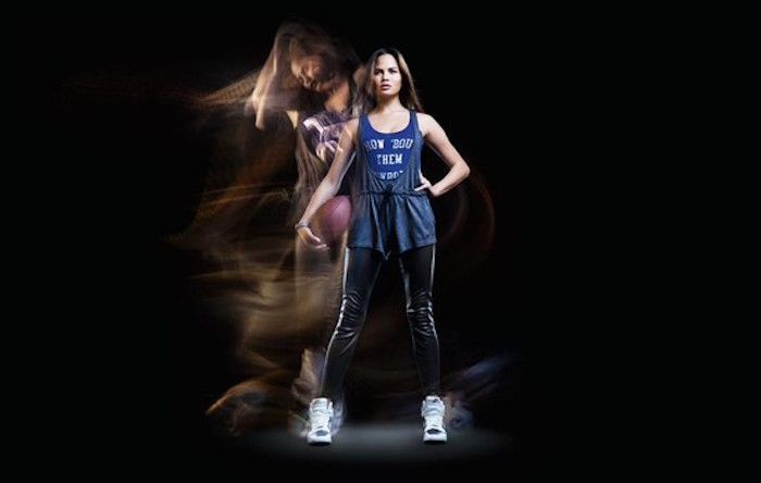 Teigen posing for Nike. Image Credit: Nike