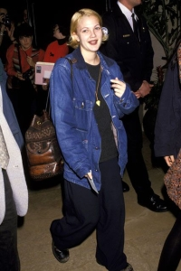 Drew Barrymore in Oversized Denim Jacket, Photo Credit: refinery29