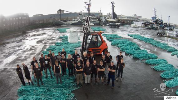 The crew who collects the plastic from the ocean.