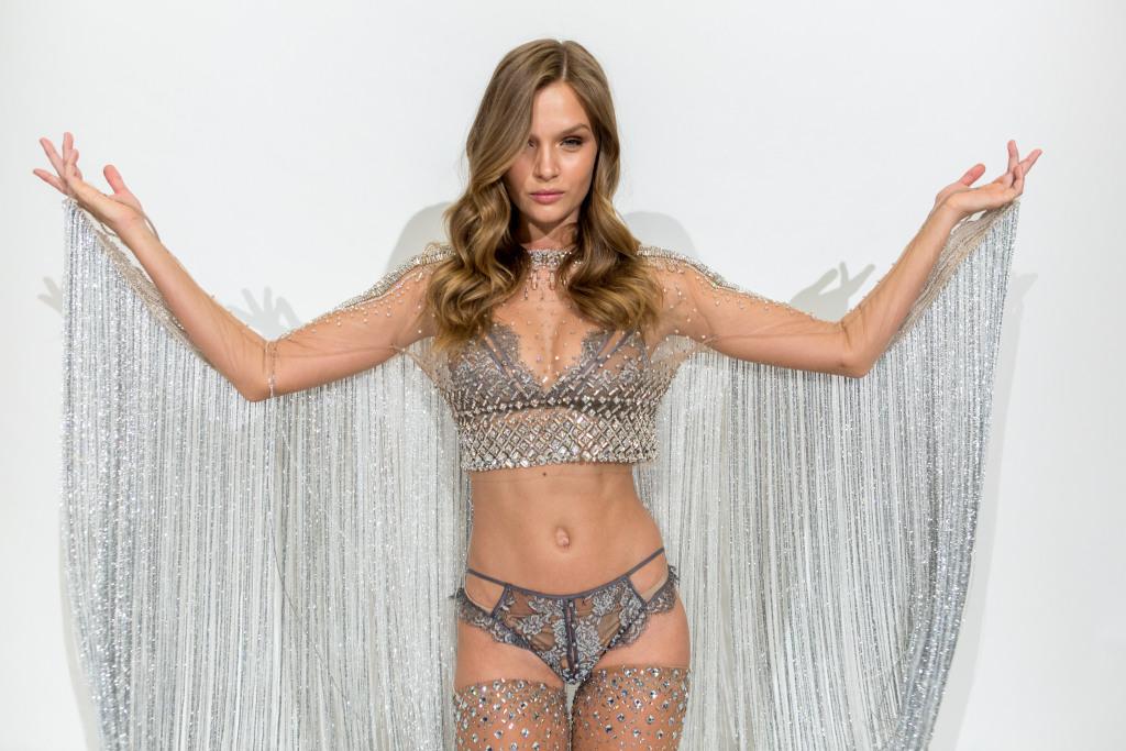 Josephine Skriver in her custom Swarovski look for the upcoming Victoria's Secret Fashion Show.