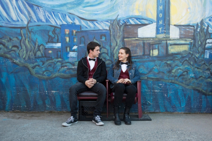 Dylan Minnette as Clay Jensen and Katherine Langford as Hannah Baker. Photo credit: Netflix