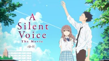 Promotional poster of A Silent Voice with Shoya and Shoko to the right, and the title to the left in pink font. Shoya's whole body is facing to the left, reaching an arm up looking up to the sky. Shoko is facing forward. The background is a blue sky with some trees visible on either side.