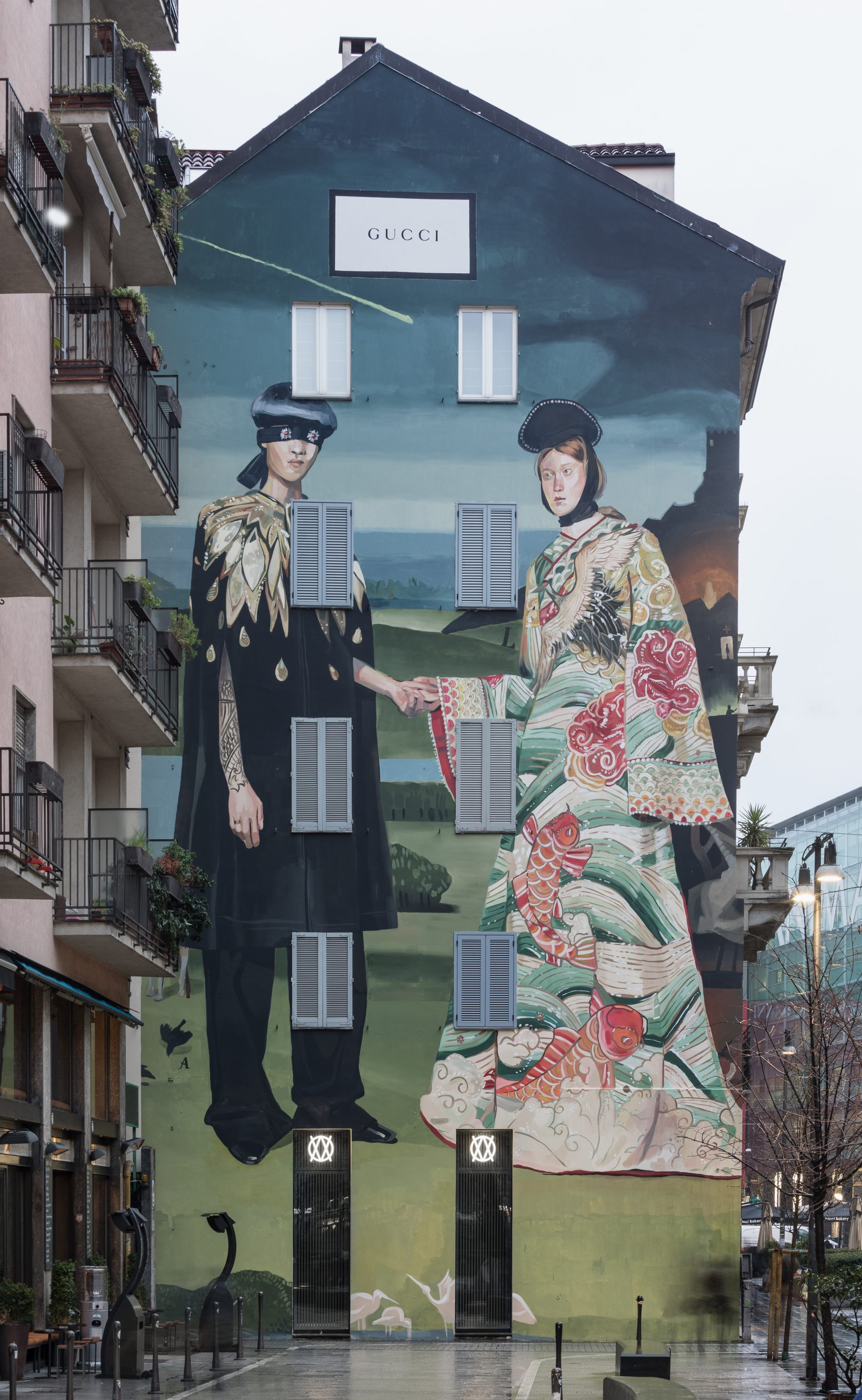 Ignasi Monreal Gucci mural piece in Milan. Photo credits: Delfino Sisto Legani and Marco Cappelletti