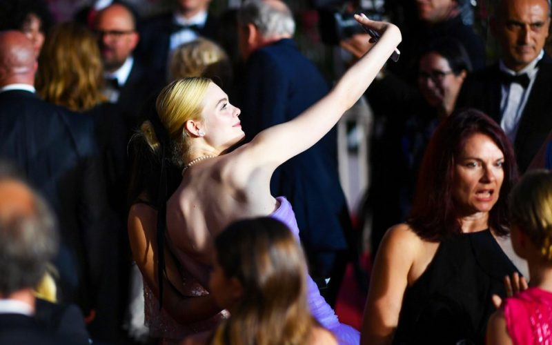 Elle Fanning takes a selfie at the 2017 Cannes Film Festival